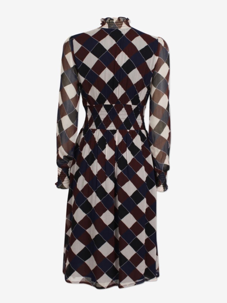 Amal Dress - Navy Brown Check