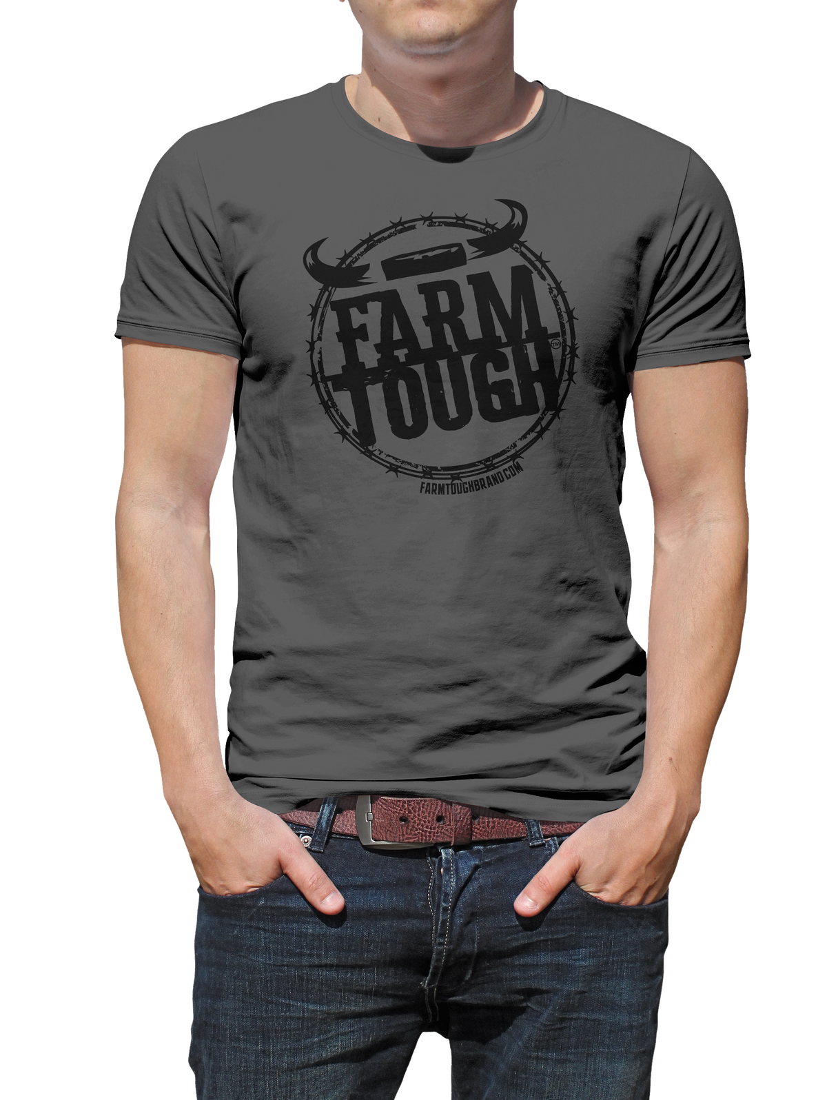 #FarmTough - Barbed Wire w/ Steer Horns - T Shirt
