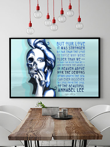Poster Print - Boho Wall Art - Boho Decor - Bohemian Decor - Edgar Allen Poe Art - Edgar Allen Poe Poster - Annabel Lee Poster - Poster for Classroom - Library Poster - Literary Poster - Romantic Poster Print - Romantic Gifts - Romantic Literary Poster - Annabel Lee Edgar Allen Poe