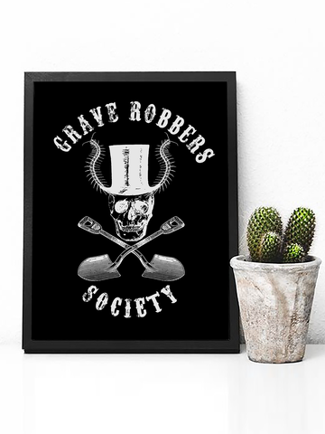 Grave Robbers Society Poster Print | Skull with Top Hat Wall Art - Clarafornia