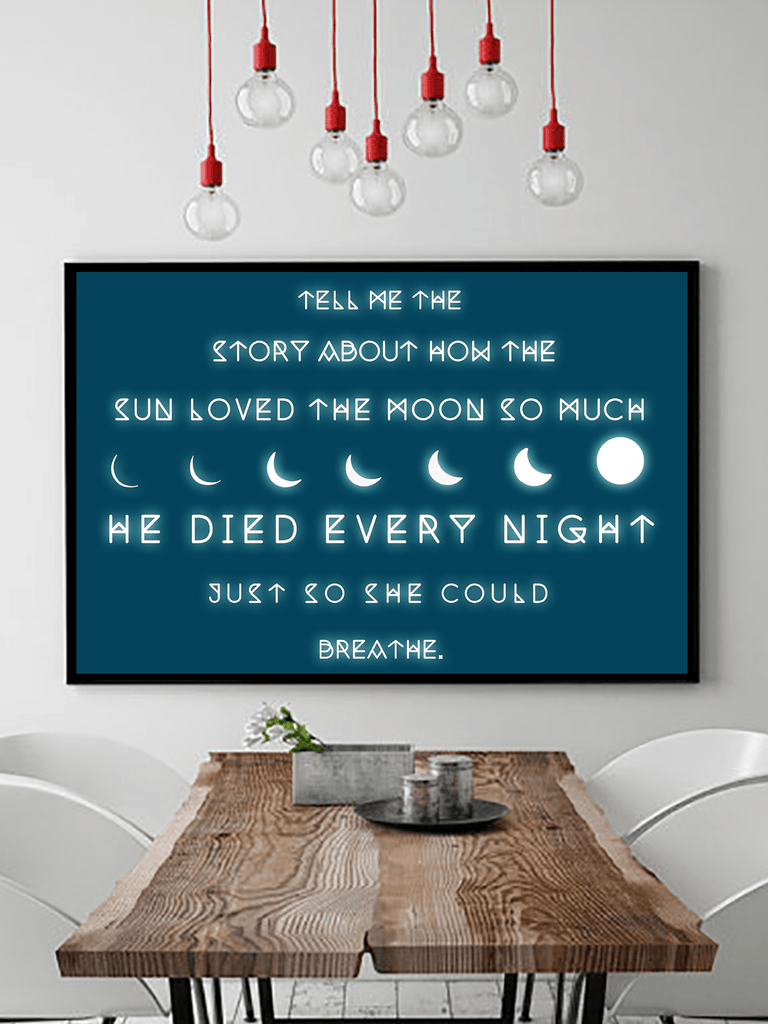 Romantic Moon Quote Poster Print | Boho Geometric Moon Wall Art - Clarafornia