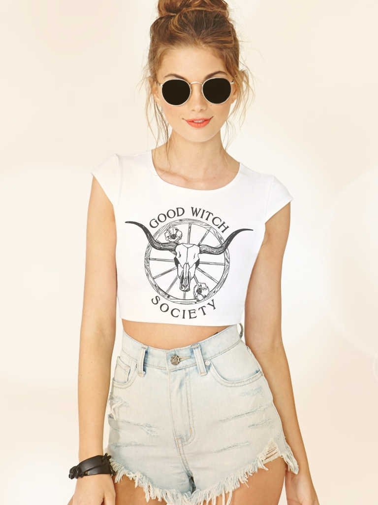 Womens Graphic Crop Tops - Boho Crop Top - Bohemian Crop Top - Boho Fashion - Bohemian Fashion - Bohemian Style - Boho Style - Graphic Crop Tops Women - Streetwear - Womens Street Style - Womens Tumblr Clothing - Womens Tumblr - Tumblr Fashion - Pastel Goth Crop Top - Grunge Crop Top - Womens Festival Clothing - Festival Tops - Witch Shirt - Good Witch Crop Top - Good Witch Shirt - Womens Witch Shirt Crop Top