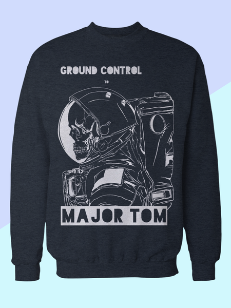 Mens David Bowie Major Tom Sweatshirt | David Bowie Song Lyrics Sweatshirt - Clarafornia