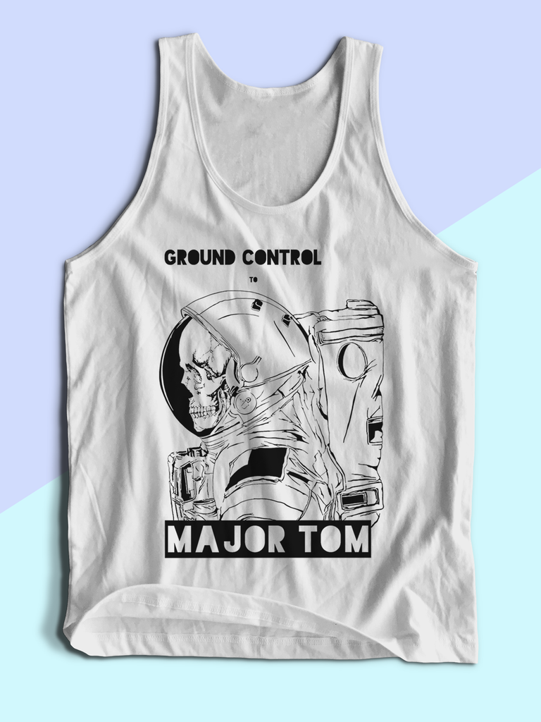 Graphic Tank Tops for Men - Festival Clothing - Festival Tank Tops - Festival Clothing 2018 - Mens Festival Wear - Hippie Clothes - Hippie Tank Tops - Mens Band Shirts - Mens Band TShirts - Mens Concert Tees - David Bowie Shirt for Men - Mens David Bowie Tank Top - David Bowie Ground Control to Major Tom Tank Top - David Bowie Lyrics Shirt