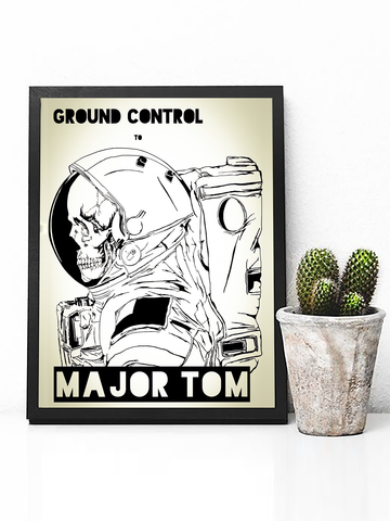Poster Print - Boho Wall Art - Boho Decor - Bohemian Decor - Art Print - Hippie Wall Art - Hippie Poster - Street Art - David Bowie Song Lyrics - David Bowie Poster - Bohemian Wall Art - David Bowie Wall Art - Ground Control to Major Tom Poster -Astronaut Poster - Astronaut Decor - Inspirational Wall Art - Inspirational Decor