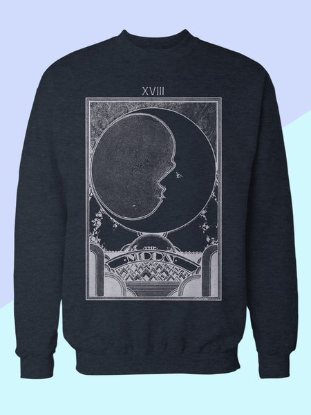 Mens Moon Tarot Card Sweatshirt | Retro Moon Tarot Sweatshirt - Clarafornia