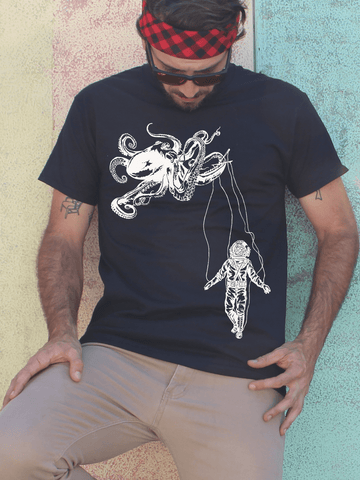 Octopus + Diver T Shirt | Mens Nautical Shirt - Clarafornia
