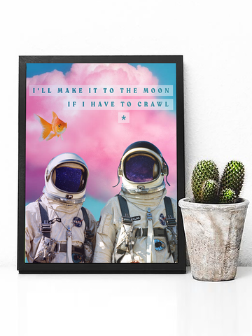 Trippy Astronauts Poster Print | Red Hot Chili Peppers Wall Art - Clarafornia