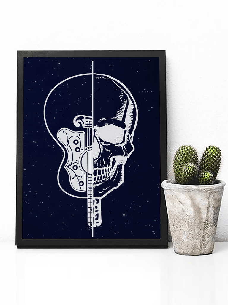 Skull and Guitar Poster Print | Music Lovers Wall Art - Clarafornia