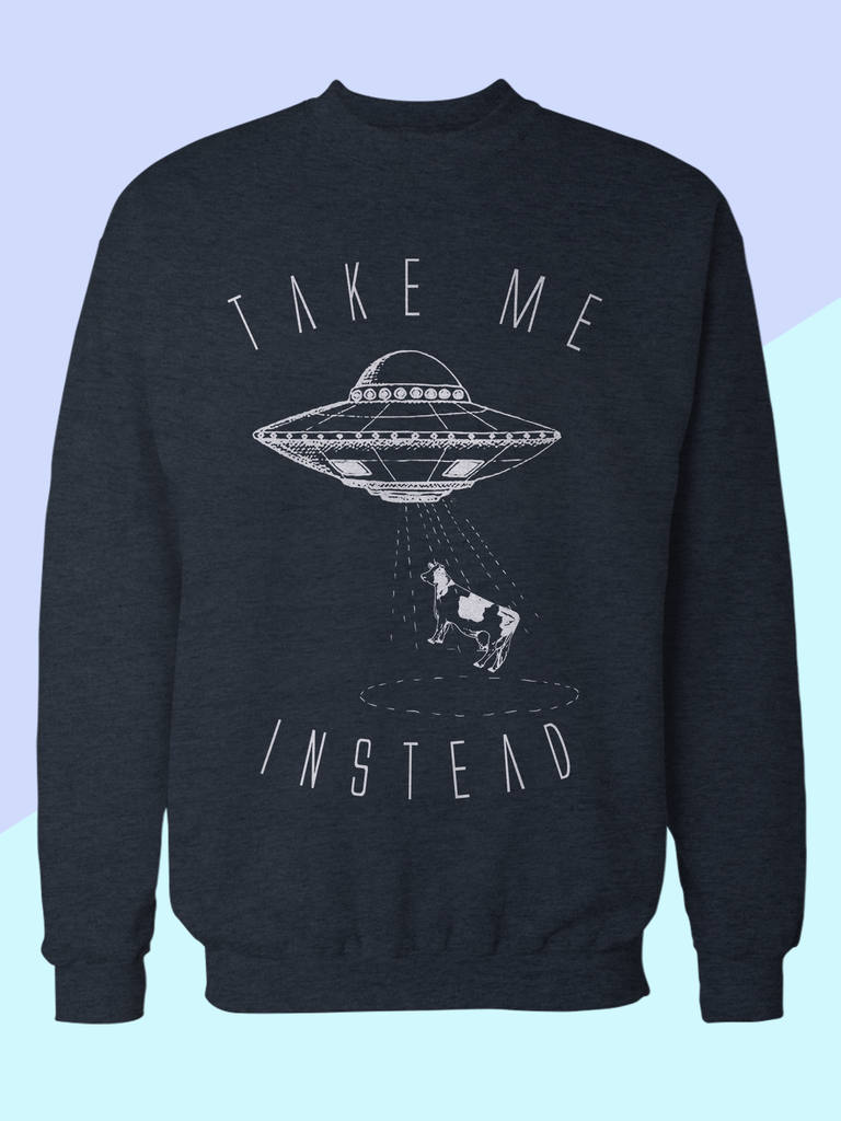Mens Alien UFO and Cow Sweatshirt | Funny Alien Sweatshirt - Clarafornia