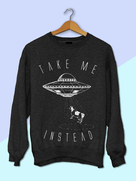 Womens Alien UFO and Cow Sweatshirt | Funny Alien Sweatshirt - Clarafornia
