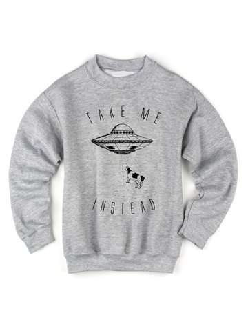 Kids Alien UFO and Cow Sweatshirt | Funny Alien Sweatshirt - Clarafornia