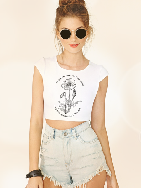 Tom Petty Wildflowers Boho Crop Top - Clarafornia