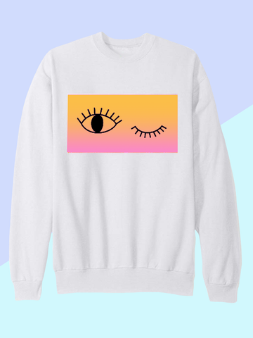 Womens Winking Eye Sweatshirt | Neon 90s Urban Sweatshirt