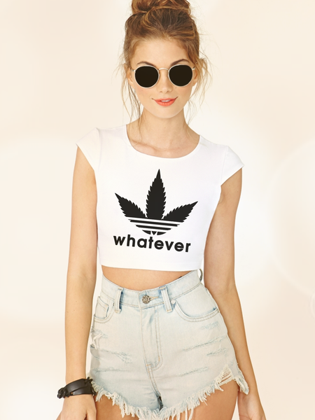 Womens Graphic T Shirts - Womens Streetwear - Womens Street Style - Womens Graphic Crop Tops - Boho Clothing - Womens Boho Clothing -Weed Shirt - Adidas Parody - Funny Weed Shirt - Stoner Shirt - Stoner Crop TOp - Marijuana Crop Top - Weed Leaf Shirt - Weed Leaf Crop Top - Womens Festival Top - Festival Clothing for Women - Womens Stoner Gifts for Her