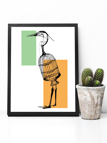 Poster Print - Trippy Art -Alice in Wonderland Bird Poster - Alice in Wonderland Decor - Trippy Bird Art - Bird Poster Print - Retro Aesthetic - Boho Decor - Boho Poster Print - Animal Print - Bird Print - Trippy Art - Trippy Poster Print - Birdcage Poster - Boho Style - Boho Living Room Decor - Farmhouse Decor
