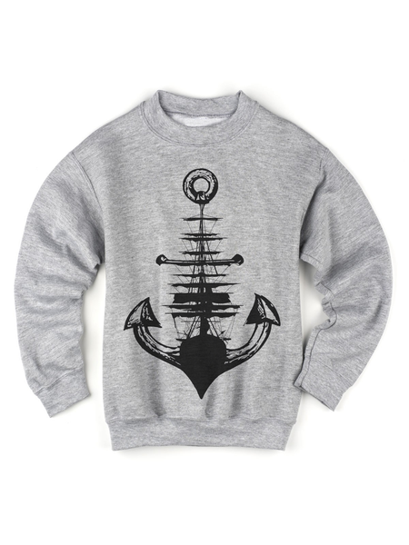 Kids Anchor + Ship Sweatshirt | Kids Sailing Sweatshirt - Clarafornia
