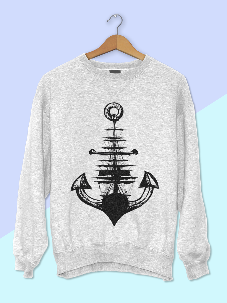 Womens Graphic Sweatshirt - Graphic Sweatshirt for Women - Womens Boho Sweater - Boho Sweatshirt - Bohemian Sweatshirt - Anchor Sweatshirt Womens - Anchor and Ship Sweatshirt - US Navy Sweatshirt Women - US Navy Gift for Her - US Navy Gift for Wife - US Navy Wife - Anchor Sweatshirt - Ship Sweatshirt - Nautical Graphic Sweatshirt