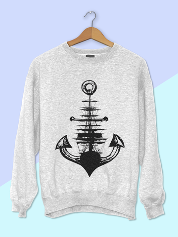 Womens Anchor + Ship Sweatshirt | Nautical Sweatshirt - Clarafornia