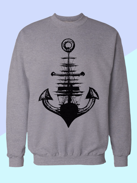Mens Anchor + Ship Sweatshirt | Nautical Sweatshirt - Clarafornia