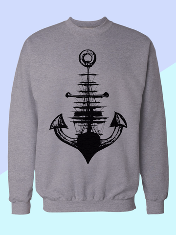 Mens Graphic Sweatshirt - Graphic Sweatshirt for Men - Graphic Sweatshirt - Graphic Sweatshirt Sale  - Mens Urban Fashion - Mens Street Wear - Mens Boho Style - Boho Mens Fashion - Nautical Mens Clothing - Nautical Sweatshirt - Beach Sweatshirt - Anchor Sweatshirt Mens - Anchor and Ship Sweatshirt - Mens Tumblr Sweatshirt