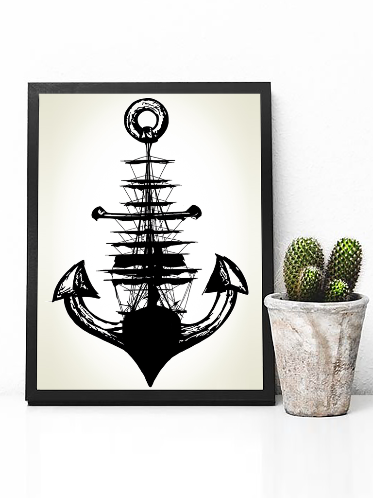 Anchor + Ship Poster Print | Ocean Wall Art - Clarafornia