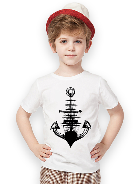 Kids Anchor + Ship T Shirt | Kids Nautical Shirt - Clarafornia