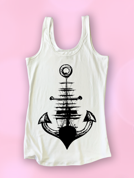 Womens Anchor + Ship Tank Top | Nautical Shirt - Clarafornia