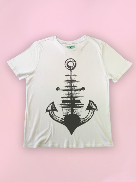 Womens Anchor + Ship Nautical T Shirt - Clarafornia