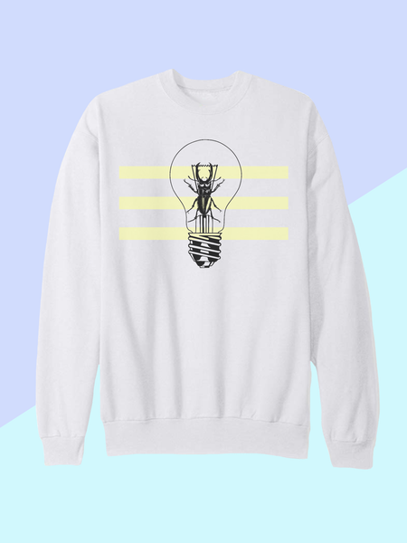 Womens Beetle Lightbulb Sweatshirt | Neon Insect Sweatshirt - Clarafornia
