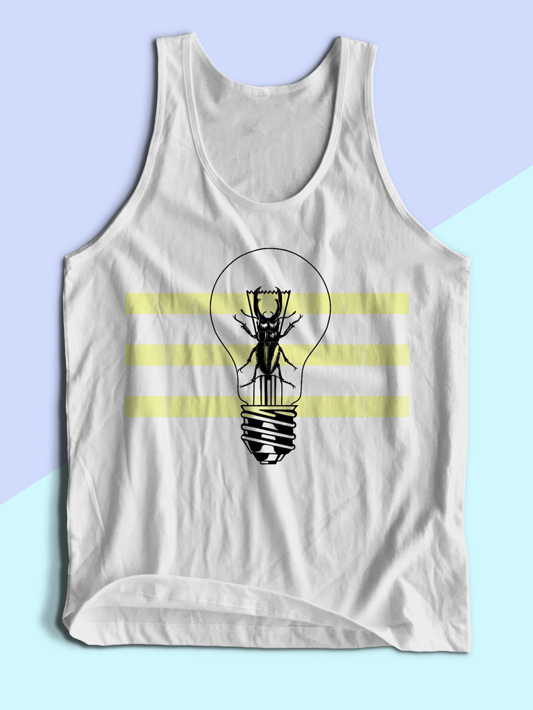 Mens Beetle Lightbulb Tank Top | Mens Insect Shirt - Clarafornia