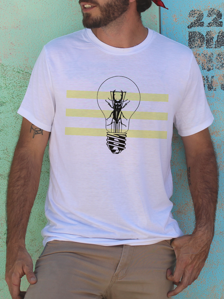 Mens Beetle Lightbulb T Shirt | Mens Insect Shirt - Clarafornia