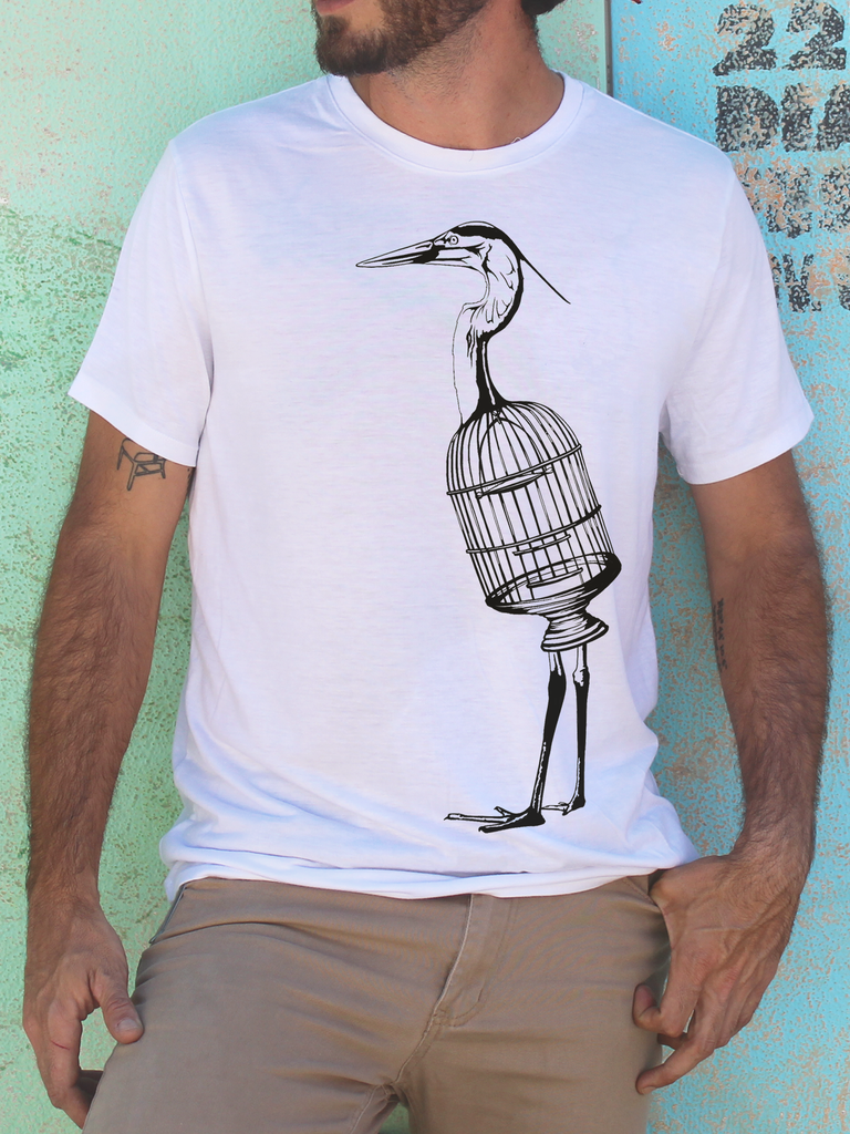 Mens Bird Cage Shirt | Mens Wildlife Shirt - Clarafornia