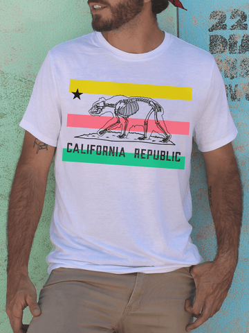 Mens Graphic T Shirt - Graphic Tee Shirts for Men - Graphic T Shirts - Graphic T Shirt Sale - Mens Streetwear - Mens Street Style - 90s Colorblock Retro T Shirt - Retro California Republic Bear Skeleton Shirt - California Republic Shirt - Unique California T Shirt for Men - 90s Color T Shirt - Vintage Aesthetic - Tumblr Clothing for Men