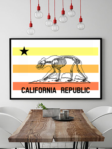 Poster Print - Trippy Art - Neon Wall Art - Psychedelic Wall Art - California Republic Poster Print - California Poster Print - San Diego Poster Print - Los Angeles Poster Print - Los Angeles Wall Art - Southern California Retro Wall Art - Bear Skeleton Poster Print - Urban Art - Dorm Art - Dorm Decor - California Bedroom Decor - Southern California Art