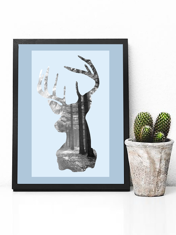 Deer Head Silhouette Forest Poster - Clarafornia