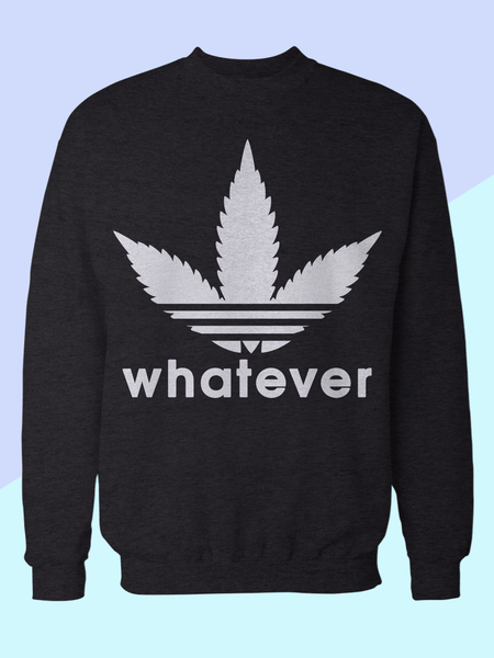 Mens Whatever Weed Leaf Sweatshirt | Adidas Parody Logo Sweatshirt