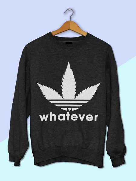 Womens Whatever Weed Leaf Sweatshirt | Adidas Parody Logo Sweatshirt