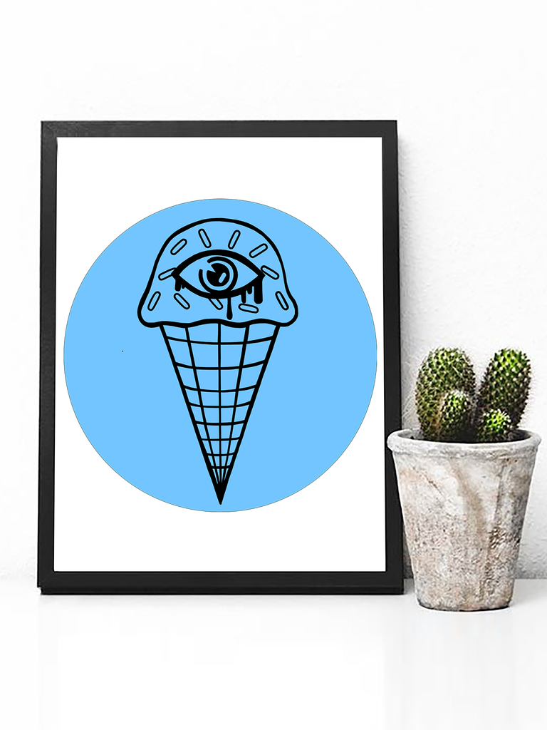 Poster Print - Trippy Art - Neon Wall Art - Ice Cream Wall Art - Trippy Poster - Psychedelic Poster - Trippy Art - Psyhedelic Art - Third Eye Poster - Trippy Pastel Poster - Dorm Decor - Pastel Goth Decor - Trippy Decor - Bedroom Poster Decor - Neon Blue Poster - Neon Aesthetic Decor - Pastel Tumblr Poster - Tumblr Art