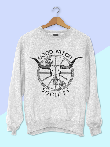 Womens Graphic Sweatshirt - Graphic Sweatshirt for Women - Womens Boho Sweater - Boho Sweatshirt - Bohemian Sweatshirt - Hippie Clothes for Women - Hippie Sweatshirt Women - Witch Sweatshirt Women - Witch Shirt - Good Witch Sweatshirt - Halloween Sweatshirt - Halloween Shirt - Graphic Halloween Sweatshirt - Longhorn Skull Sweatshirt - Longhorn Sweatshirt - Boho Style - Womens Boho Sweater