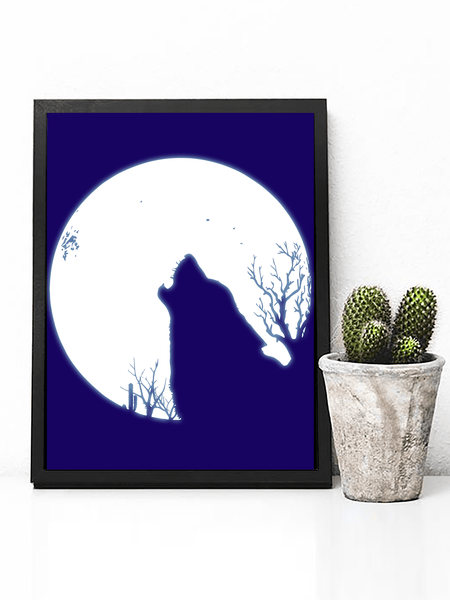 Poster Print - Boho Wall Art - Boho Decor - Bohemian Decor - Art Print - Hippie Wall Art - Hippie Poster - Street Art -  Boho Wall Art - Bohemian Wall Art - Boho Wall Art - Wolf Wall Art - Wolf Decor - Bedroom Decor - Boho Wall Art - Moon Poster - Howlin Wolf Poster - Moon Decor - Moon Wall Art