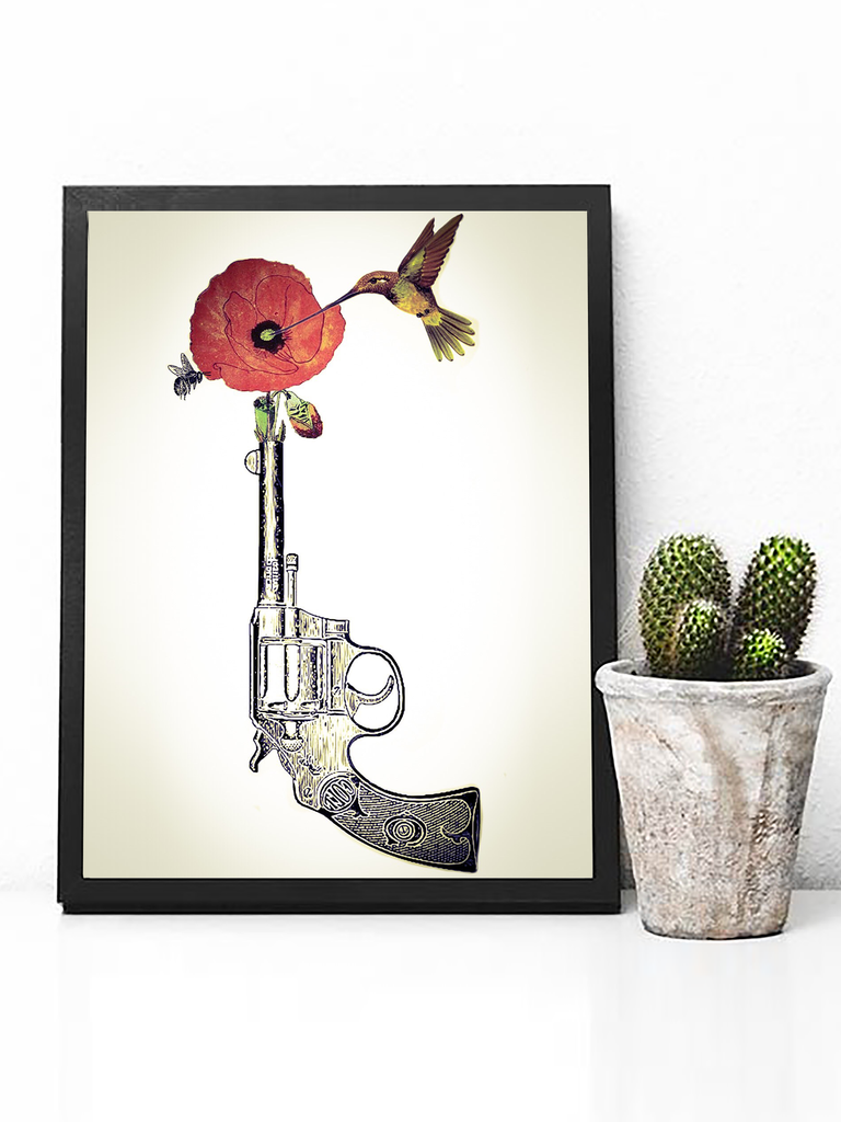Poster Print - Boho Wall Art - Boho Decor - Bohemian Decor - Art Print - Hippie Wall Art - Hippie Poster - Street Art - Boho Wall Art - Hummingbird Poster - Poppy Flower Poster - Anti Gun Poster - No Gun Violence Poster - Anti Gun Poster - Anti Violence Poster - Hippie Poster - Hippie Decor - Boho Decor - Peace Poster - Hipster Poster - Dorm Decor - Dorm Poster