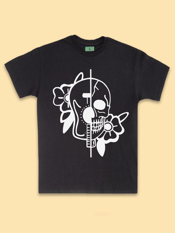 Mens Streetwear - Mens Street Style | Mens Retro Floral Tattoo Shirt - Skull and Guitar T Shirt - Music Lover Shirts | Mens Tumblr Clothing - Mens Grunge Shirts - Mens Music Festival T Shirt |
