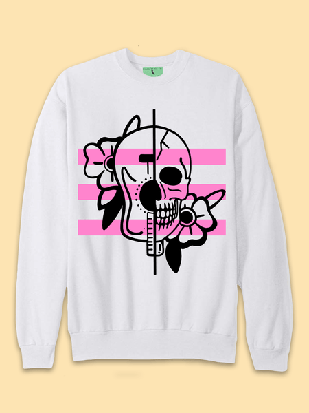 Mens Skull + Guitar Tattoo Sweatshirt - Clarafornia
