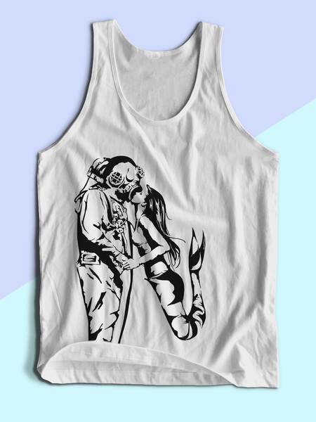Mens Mermaid + Diver Tank Top | Mens Mermaid Shirt - Clarafornia