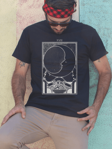 Mens Graphic T Shirt - Graphic Tee Shirts for Men - Graphic T Shirts - Graphic T Shirt Sale - Mens Festival Shirt - Mens Festival T Shirts - Mens Urban Fashion - Mens Street Wear - Festival Gear - Mens Boho Style - Boho Mens Fashion - Mens Boho T Shirt - Bohemian Mens Tee Shirt - Moon Tarot Card TShirt - Moon Tarot Shirt - Moon Shirt for Men - Mens Boho Tee Shirt