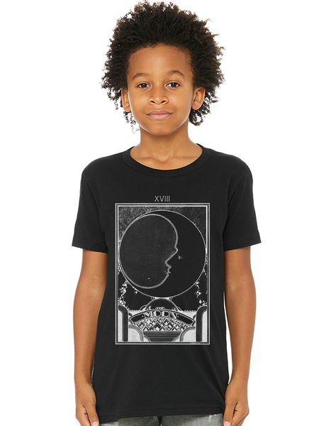 Boho Kids Tee - Boho Kids - Hippie Kids - Hippie Clothes for Kids - Hippie Kids - Moon Tarot Card Shirt - Boho Tee - Bohemian Kids Clothes - Cool Kids Tee - Cool Nature Shirt - Retro Graphic Tee for Kids - Moon Shirt for Kids