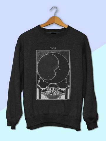 Womens Moon Tarot Card Sweatshirt | Retro Moon Tarot Sweatshirt - Clarafornia