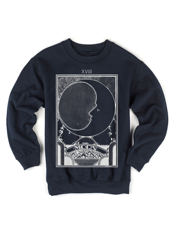 Kids Moon Tarot Card Sweatshirt | Retro Tarot Card Sweatshirt - Clarafornia