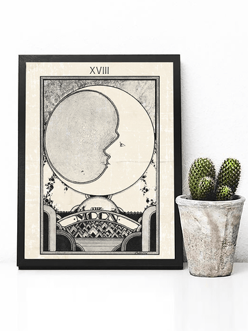 Retro Moon Tarot Card Poster Print | Tarot Card Wall Art - Clarafornia